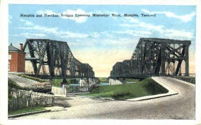 Memphis & Harrahan Bridges - Tennessee TN Postcard