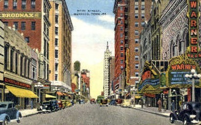 Main Street - Memphis, Tennessee TN Postcard