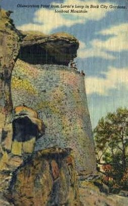 Observation Point, Rock City Gardens  - Lookout Mountain, Tennessee TN Postcard