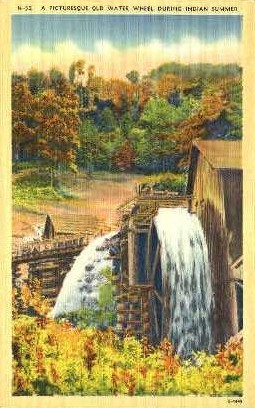Old Water Wheel - Misc, Tennessee TN Postcard