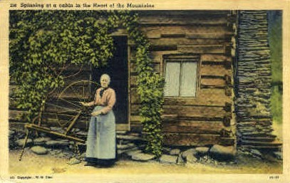Spinning at a Cabin - Misc, Tennessee TN Postcard
