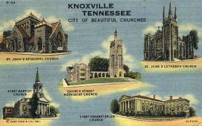 Beautiful Churches - Knoxville, Tennessee TN Postcard
