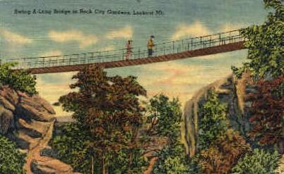 Swing-Along Bridge in Rock City Gargens  - Lookout Mountain, Tennessee TN Postcard