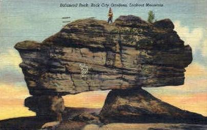 Balanced Rock, Rock City Gardens - Lookout Mountain, Tennessee TN Postcard