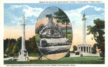 Military Monuments - Lookout Mountain, Tennessee TN Postcard