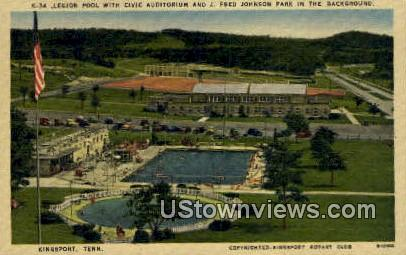 Civic Aud, J Fred Johnson Park - Kingsport, Tennessee TN Postcard