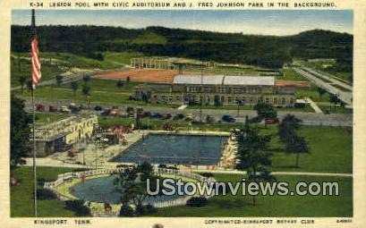 Legion Pool with Civic Auditorium - Kingsport, Tennessee TN Postcard