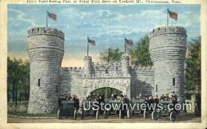 Dixie Sight Seeing Cars At Point Park Gate  - Lookout Mountain, Tennessee TN Postcard
