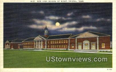 New High School By Night - Bristol, Tennessee TN Postcard