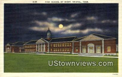 High School By Night  - Bristol, Tennessee TN Postcard