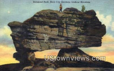 Balance Rock, Rock City Gardens  - Lookout Mountain, Tennessee TN Postcard