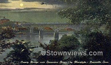 County Bridge, Tennessee River - Knoxville Postcard