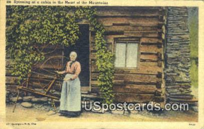 Spinning, Cabin - Misc, Tennessee TN Postcard