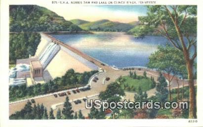 Norris Dam & Lake - Clinch River, Tennessee TN Postcard