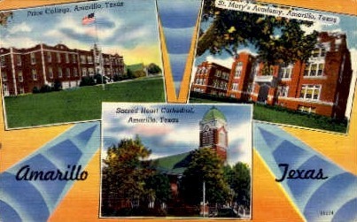 Price College and St. Mary's Academy - Amarillo, Texas TX Postcard