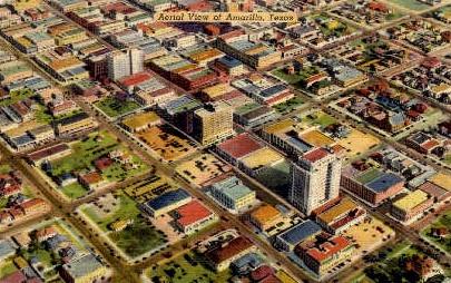 Aerial View - Amarillo, Texas TX Postcard