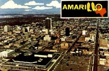 Aerial View of Dowtown - Amarillo, Texas TX Postcard