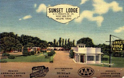 Sunset Lodge  - Abilene, Texas TX Postcard
