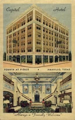 Capitol Hotel - Amarillo, Texas TX Postcard