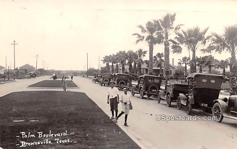 Palm Boulevard - Brownsville, Texas TX Postcard