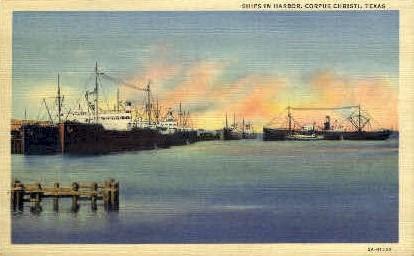 Ships in Harbor - Corpus Christi, Texas TX Postcard