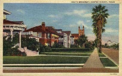 South Broadway - Corpus Christi, Texas TX Postcard