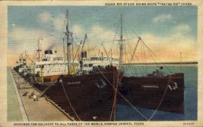 Seven Big Ocean Goin Ships  - Corpus Christi, Texas TX Postcard