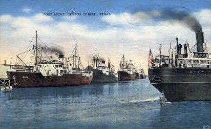 Port Scene - Corpus Christi, Texas TX Postcard