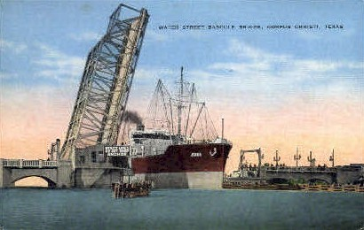 Water Street Bascule Bridge  - Corpus Christi, Texas TX Postcard