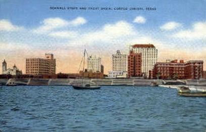 Seawall Steps and Yacht Basin - Corpus Christi, Texas TX Postcard