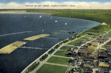 Airview of bay Front - Corpus Christi, Texas TX Postcard