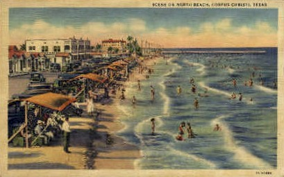 Scene on North Beach - Corpus Christi, Texas TX Postcard