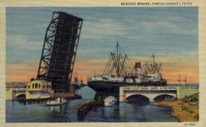 Bascule Bridge - Corpus Christi, Texas TX Postcard
