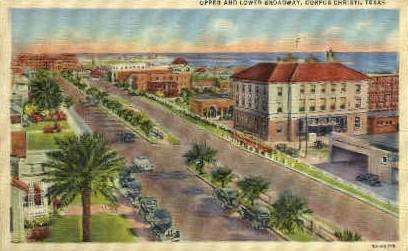 Upper and Lower Broadway - Corpus Christi, Texas TX Postcard