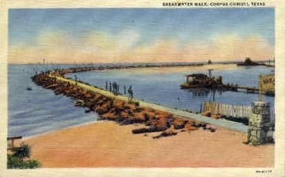 Breakwater Walk - Corpus Christi, Texas TX Postcard