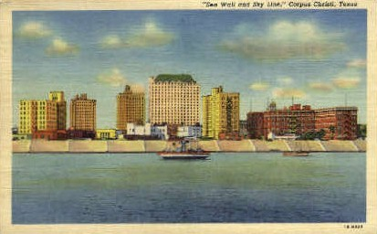 Sea Wall and Skyline - Corpus Christi, Texas TX Postcard
