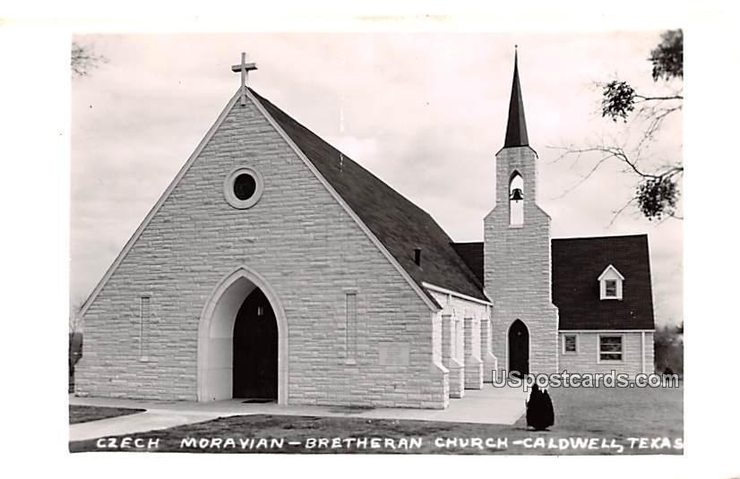 Czech Moravian Bretheran Church - Caldwell, Texas TX Postcard