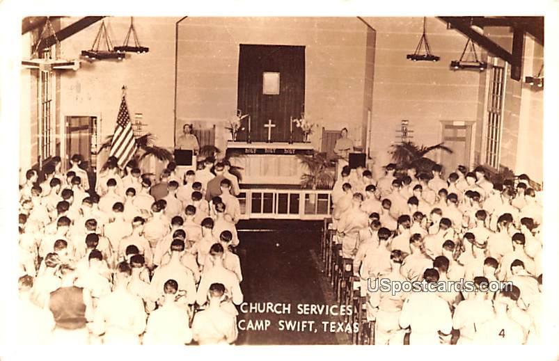 Church Services - Camp Swift, Texas TX Postcard