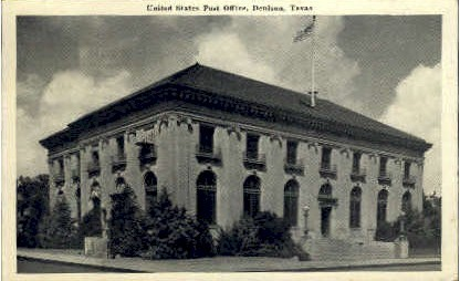 United States Post Office - Denison, Texas TX Postcard