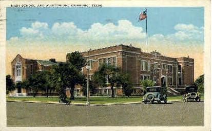 High School and Auditorium - Edinburg, Texas TX Postcard