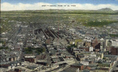 Aerial View of El Paso - Texas TX Postcard