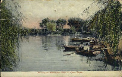 Boating at Washington Park - El Paso, Texas TX Postcard
