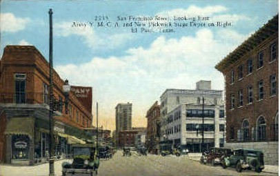 San Fransisco Street Looking East - El Paso, Texas TX Postcard