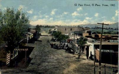 El Paso Street - Texas TX Postcard