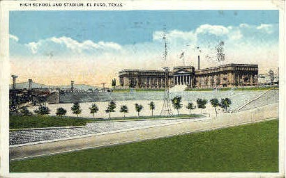 High School and Stadium - El Paso, Texas TX Postcard