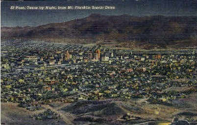 Texas By Night - El Paso Postcard