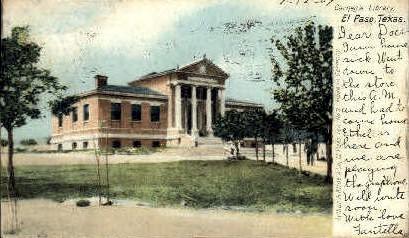 Carnegie Library - El Paso, Texas TX Postcard