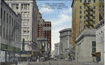 Mills Street - El Paso, Texas TX Postcard