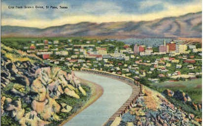 City From Scenic Drive - El Paso, Texas TX Postcard
