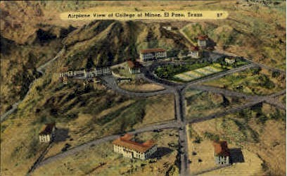 Airplane View of College of Mines - El Paso, Texas TX Postcard